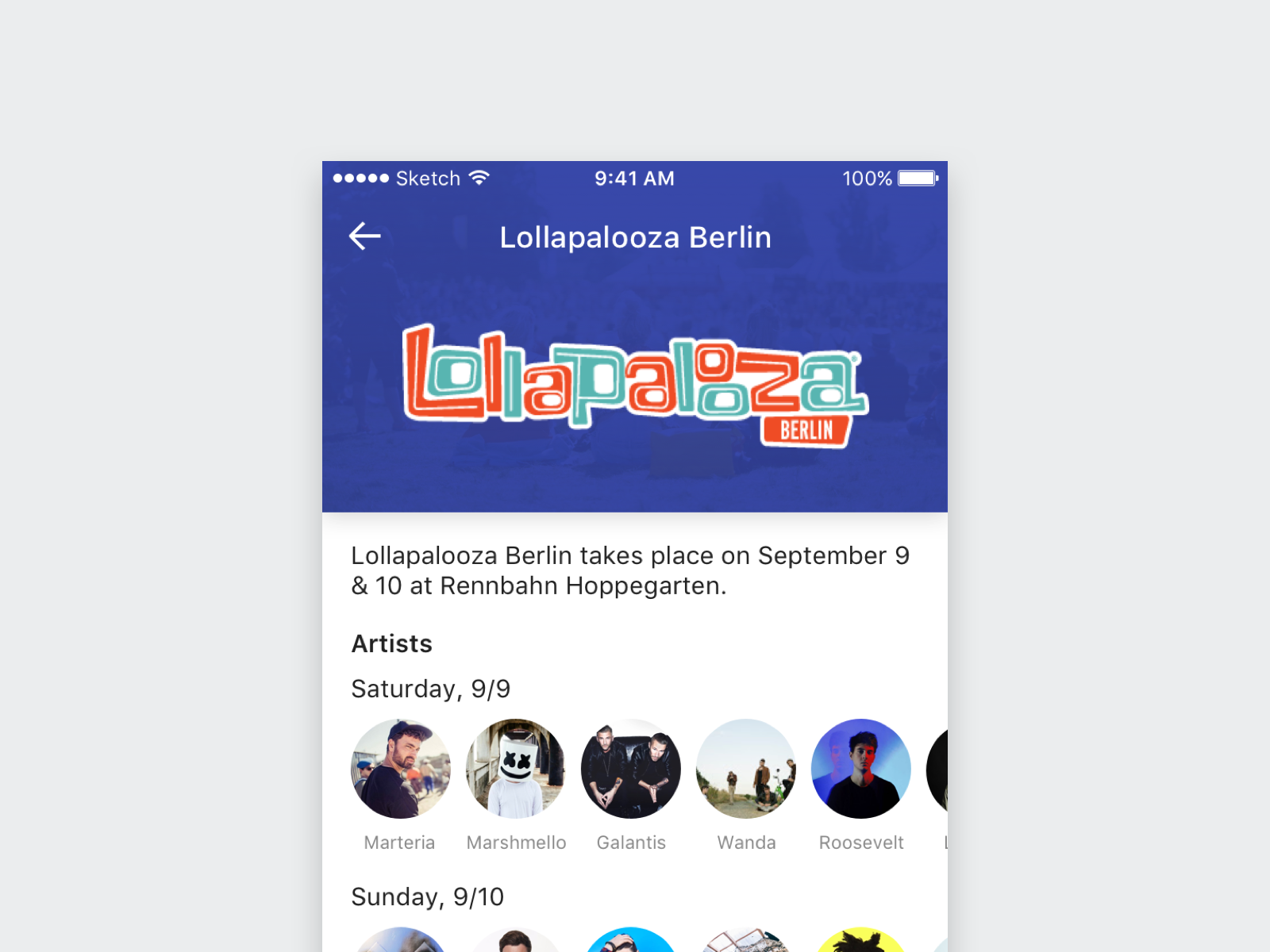 Thumbnail of the Festival Tickets App Concept